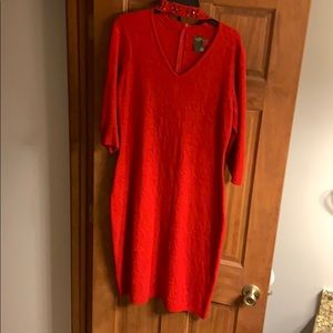 Red dress with attached studded choker